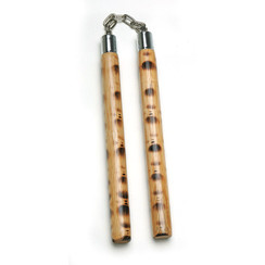 Burnt Rattan Nunchaku, w/Chain