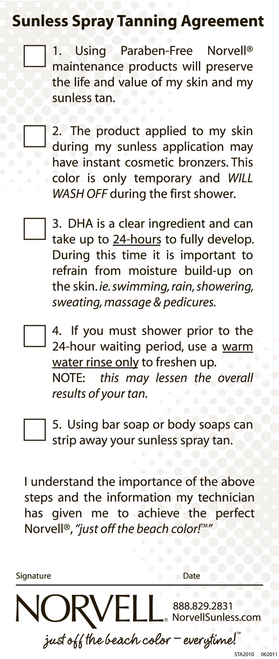Norvell Sunless Tanning Agreement/Checklist