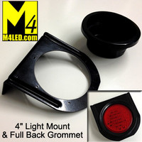 "TAIL-4ROUND-MOUNT Metal Mount with full back Rubber Grommet for 4"" LEDs lights"