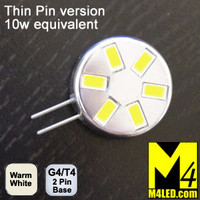 G4-6-5630-SIDE-WW-TP Warm White Elite Series Smallest G4 / T3  Samsung 5630 LEDs Thin Side Pins