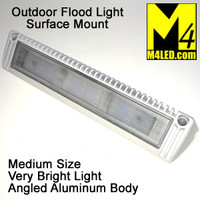 "Angled Aluminum Body Flush Mount Flood Light 13"" White"