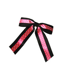 Big Black & Pink with White Polka Dot Ribbon Bow Hairclip