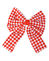 Big Red With White Check Bow Hairclip