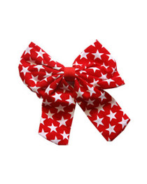 Big Red with White Stars Bow Hairclip.