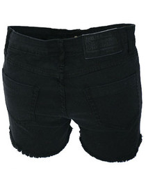 Black Denim Cut Off Hot Pants