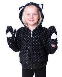 Black Skull Kids Kitty Hood