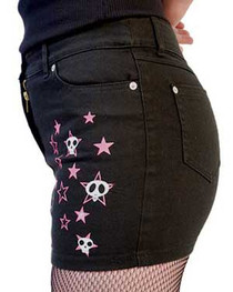 Black with Skull Stars Denim Mini Skirt