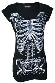 Black with White Skele Ribs Fitted T Dress