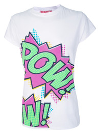 Cartoon Slogan Pow Womens T Shirt