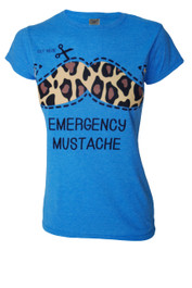 Emergency Moustache Womens Blue T Shirt