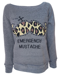 Emergency Moustache Womens Grey Sweatshirt