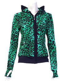 Green Large Print Leopard Ear Hood