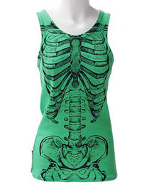 Green Skele Ribs Beater Vest