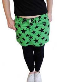 Green Star Denim Mini Skirt