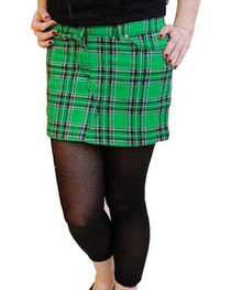 Green Tartan Denim Mini Skirt