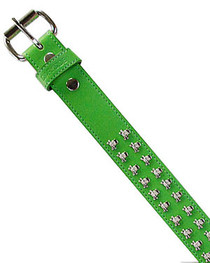 Green with Silver Skull Studs Belt