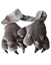 Grey Paw Scarf and Glove Set