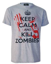 Keep Calm Kill Zombies Grey T-Shirt