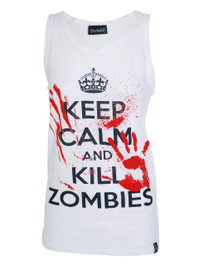 Keep Calm Kill Zombies White Vest