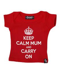 Keep Calm Mum And Carry On Red Baby T Shirt