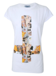 Kitty Inverted Cross Womens T Shirt