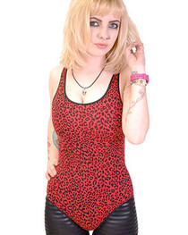 Red Leopard Body Suit