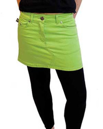 Lime Green Denim Mini Skirt