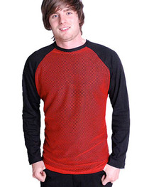 Mens Black Raglan With Red Mesh