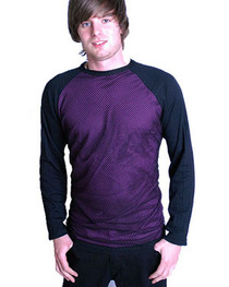 Mens Purple Raglan Mesh