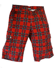 Mens Red Tartan Shorts