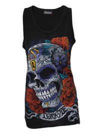 Mexican Sugar Skull Black Vest