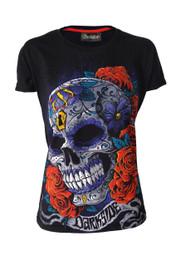 Mexican Sugar Skull Black Womens T Shirt