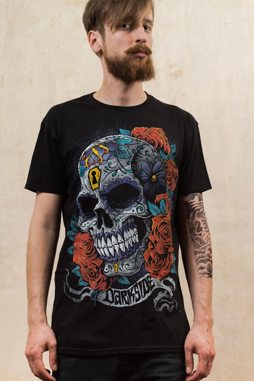 4768d400 Mexican Sugar Skull T Shirt. Image 1. Roll over to magnify and click to  enlarge