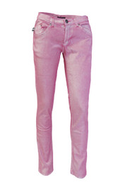 Pink Metallic Low Rise Skinny Jeans