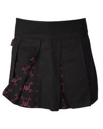 Pink Outline Skull Pleated Skirt