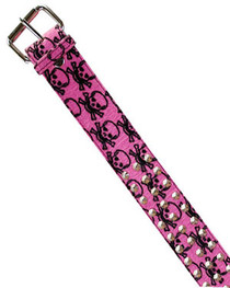 Pink Skull Fur 3 Row Conical Belt 50mm
