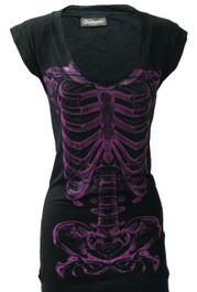 Purple Skele Ribs Fitted T Dress