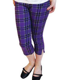 Purple Tartan Capris Jeans Womens