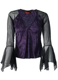 Purple Velvet Lace Up Top