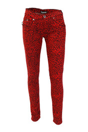 Red Leopard Large Print Low Rise Skinny Jeans