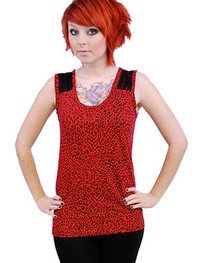 Red Leopard Thread Top