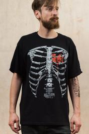 Red Ribs Black Mens T Shirt