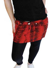 Red Snakeskin Denim Mini Skirt