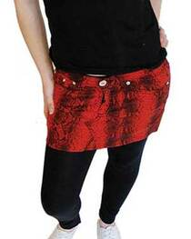 Red Snakeskin Denim Mini Skirt