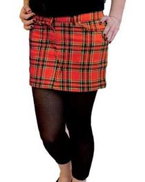 Red Tartan Denim Mini Skirt
