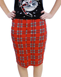 Red Tartan Pencil Skirts