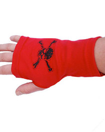 Red With Black Skull Fingerless Gloves