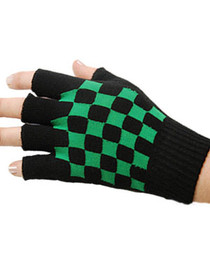 Short Black Gloves with Green Checkerboard