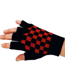 Short Black Gloves With Red Check