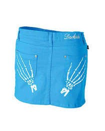 Skele Hand Bright Blue Denim Mini Skirt